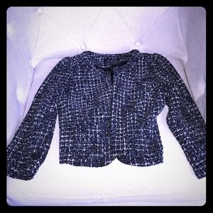 Beautiful Tweed Black & White Cropped Blazer